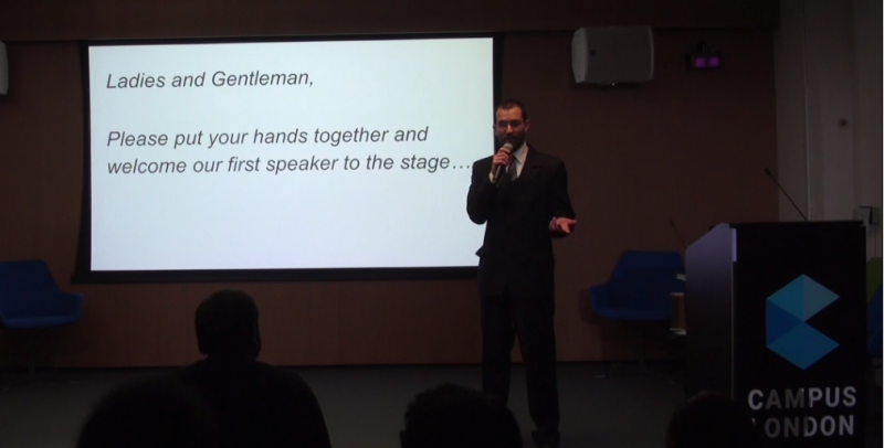 Istvan Bujdoso speaking at Google Campus London